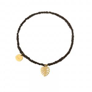 Bransoletka liść, czarny, złoty S1V72027-2Z