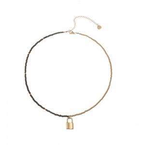 Naszyjnik kryształki, kłódka, złoty S3V72060-2Z