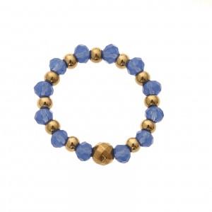 Pierścionek kryształki, niebieski,złoty S4V70362-Z