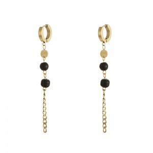 Kolczyki łańcuch, czarny, złoty S2V71452-1Z