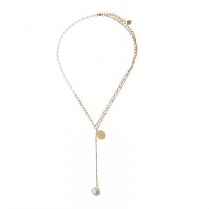 Naszyjnik krawatka, moneta, perły,złoty S3V71915-Z