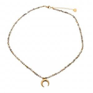 Naszyjnik księżyc, srebrny, złoty S3V72072-1Z