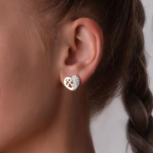 Kolczyki kryształki, serce, złoty S2V71574-Z