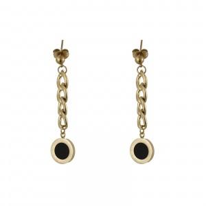 Kolczyki łańcuch, kółko, czarny, złoty S2V71712-1Z