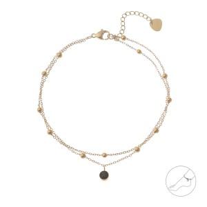 Bransoletka na kostkę kuleczki, złoty S1V72116-Z