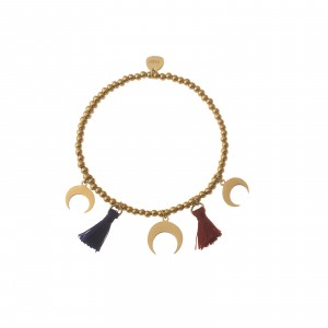 Bransoletka księżyce, chwosty, złoty S1V72029-Z