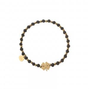 Bransoletka złota koniczynka, czarny S1V72031-Z