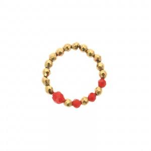 Pierścionek koraliki, czerwony, złoty S4V70407-Z
