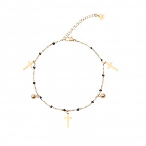 Bransoletka krzyżyki, kulki, złoty S1V71854-4Z