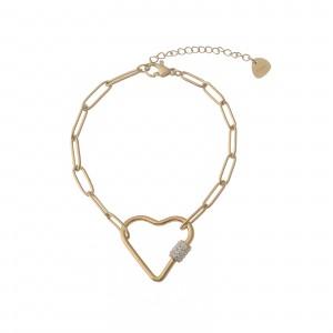 Bransoletka serce, łańcuch, złoty S1V71940-Z