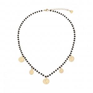 Naszyjnik kryształki, monety, czarny S3V71950-Z