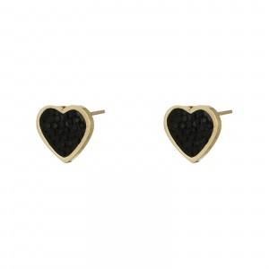 Kolczyki serce, czarny, złoty S2V71628-Z
