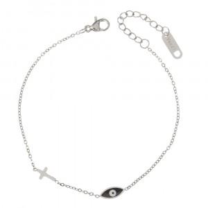 Bransoletka krzyżyk, oko, srebrny S1H70046-S