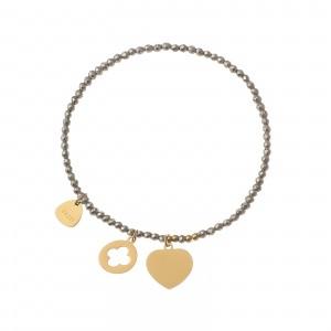 Bransoletka serce, złoty, srebrny S1V71992-2Z