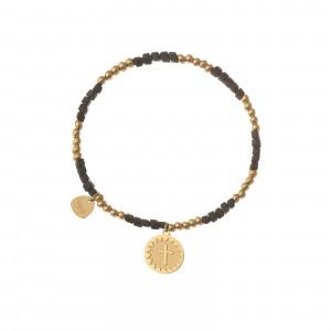 Bransoletka krzyżyk, czarny, złoty S1V72028-2Z