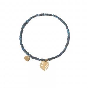 Bransoletka liść, niebieski, złoty S1V72027-1Z