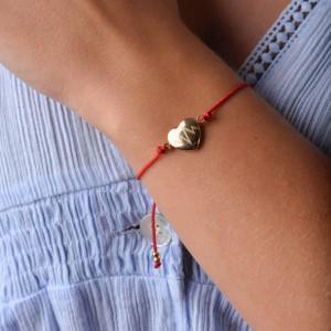 Bransoletka serce, czerwony, złoty S1V72019-2Z