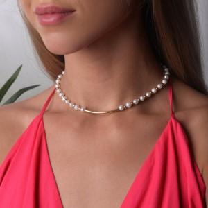 Naszyjnik perły, złoty S3V72175-Z