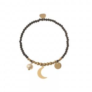 Bransoletka księżyc czarny, złoty S1V71920-Z