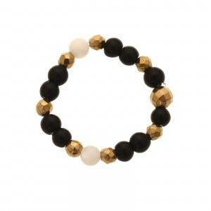 Pierścionek koraliki, złoty, czarny S4V70355-Z
