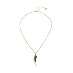 Naszyjnik skrzydło, kryształki, złoty S3V72219-Z