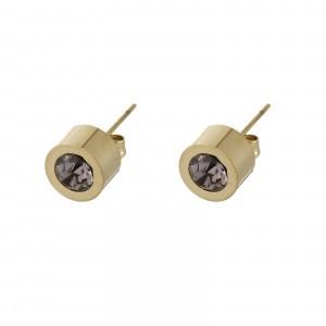 Kolczyki kryształek, fioletowy, złoty S2V71649-6Z