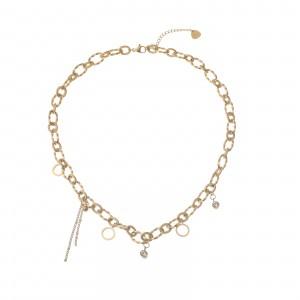 Naszyjnik łańcuch, kryształki, złoty S3V72105-Z
