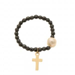 Pierścionek perła, krzyżyk, grafitowy S4V70400-Z