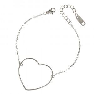 Bransoletka serce, kolor srebrny S1H70025-S