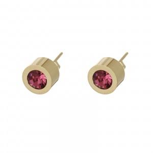 Kolczyki kryształek, różowy, złoty S2V71649-10Z