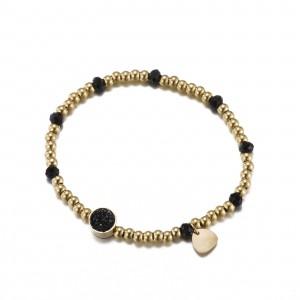 Bransoletka kryształki, złoty, czarny S1V72038-1Z