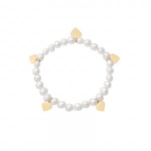 Bransoletka serduszka, perły, złoty S1V71912-Z