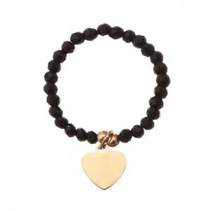 Pierścionek elastyczny, serce, czarny S4V70395-2Z