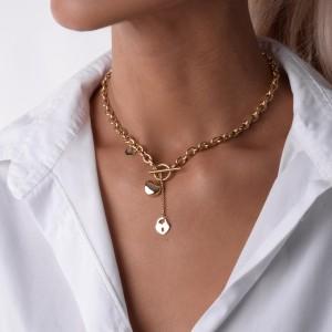 Naszyjnik łańcuch, serce, złoty S3V71863-Z
