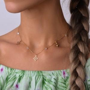 Naszyjnik lilie, kryształki, złoty S3V72222-Z