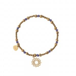 Bransoletka koraliki, kwiatek, złoty S1V71984-Z