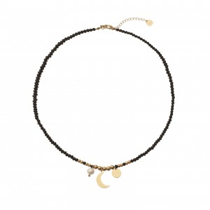 Naszyjnik księżyc, czarny, złoty S3V72070-Z