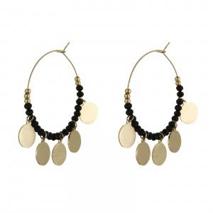 Kolczyki koła, kryształki, złoty,czarny S2V71635-Z