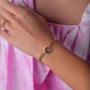 Bransoletka łańcuch, kółko, złoty S1V71861-2Z