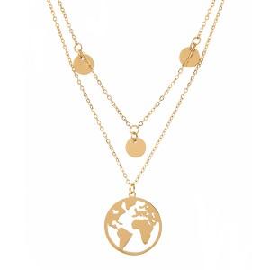 Naszyjnik mapa świata, kółeczka kolor złoty
