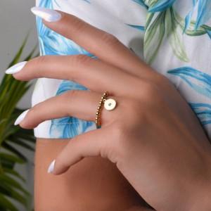 Pierścionek elastyczny, złoty, kółko S4V70390-Z