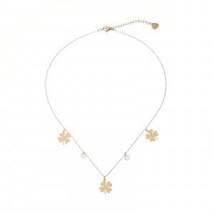 Naszyjnik kryształki, koniczyny, złoty S3V72223-Z