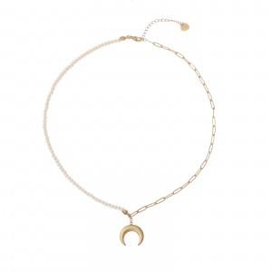 Naszyjnik księżyc, perełki, złoty S3V72216-Z