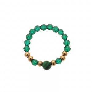 Pierścionek kryształki, zielonyS4V70357-Z