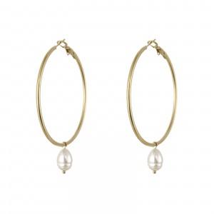 Kolczyki koła, perła, złoty(5cm) S2V71538-3Z