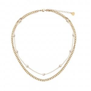 Naszyjnik łańcuch, perełki, złoty S3V71941-Z