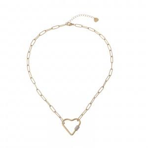 Naszyjnik łańcuch, serce, złoty S3V72100-Z