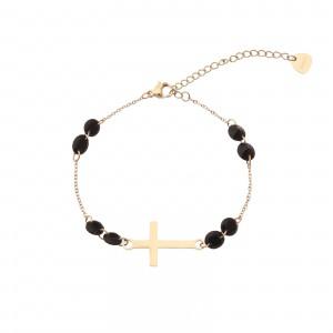 Bransoletka krzyż, kryształki, złoty S1V72024-1Z