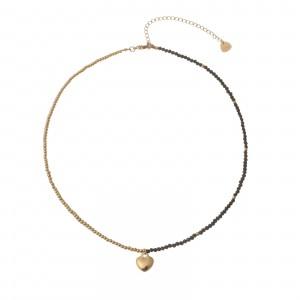 Naszyjnik kryształki, serce, złoty S3V72060-1Z