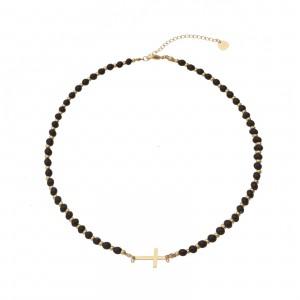 Naszyjnik krzyżyk, czarny, złoty S3V72093-Z